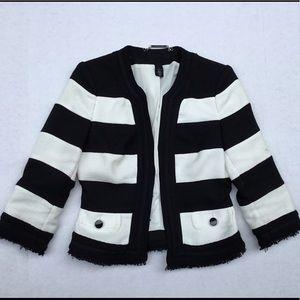 White House Black Market Stripe Cropped Jacket